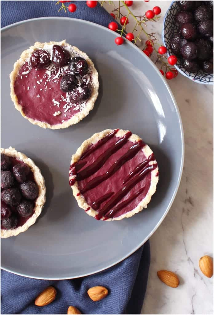Vegan No Bake Mini Blueberry Tarts