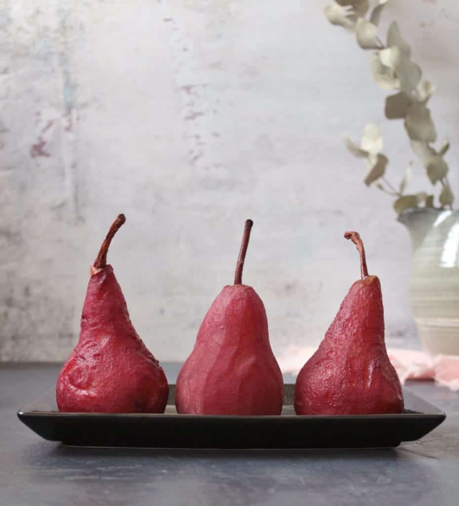 Red Wine Spiced Poached Pears