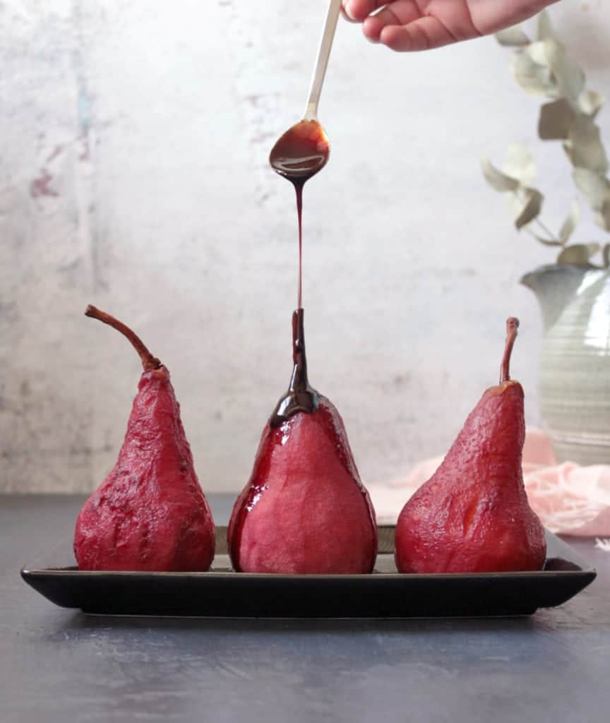 Spiced Red Wine Syrup on Poached Pears